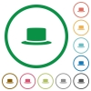 Silk hat flat color icons in round outlines on white background - Silk hat flat icons with outlines