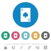 Six of spades card flat round icons - Six of spades card flat white icons on round color backgrounds. 6 bonus icons included.