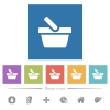 Shopping basket flat white icons in square backgrounds - Shopping basket flat white icons in square backgrounds. 6 bonus icons included.