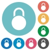 Locked round padlock flat round icons - Locked round padlock flat white icons on round color backgrounds