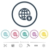 Online Yen payment flat color icons in round outlines - Online Yen payment flat color icons in round outlines. 6 bonus icons included.