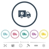 Fast delivery truck flat color icons in round outlines - Fast delivery truck flat color icons in round outlines. 6 bonus icons included.