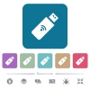 Wireless usb stick flat icons on color rounded square backgrounds - Wireless usb stick white flat icons on color rounded square backgrounds. 6 bonus icons included