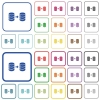 Database mirroring outlined flat color icons - Database mirroring color flat icons in rounded square frames. Thin and thick versions included.