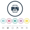 Wireless printer flat color icons in round outlines - Wireless printer flat color icons in round outlines. 6 bonus icons included.