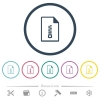 Compressed document flat color icons in round outlines - Compressed document flat color icons in round outlines. 6 bonus icons included.