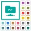 FTP put flat color icons with quadrant frames on white background - FTP put flat color icons with quadrant frames
