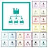 Save file as multiple format flat color icons with quadrant frames on white background - Save file as multiple format flat color icons with quadrant frames