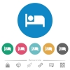 Hotel flat round icons - Hotel flat white icons on round color backgrounds. 6 bonus icons included.