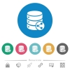 Database table relations flat round icons - Database table relations flat white icons on round color backgrounds. 6 bonus icons included.