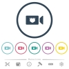 IP camera flat color icons in round outlines - IP camera flat color icons in round outlines. 6 bonus icons included.