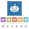 Halloween pumpkin flat white icons in square backgrounds. 6 bonus icons included. - Halloween pumpkin flat white icons in square backgrounds