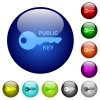 Public key color glass buttons - Public key icons on round color glass buttons