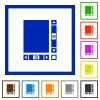 Blank document with scroll bars flat framed icons - Blank document with scroll bars flat color icons in square frames on white background