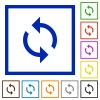 Programming loop flat framed icons - Programming loop flat color icons in square frames on white background