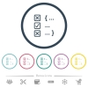 Source code checking flat color icons in round outlines - Source code checking flat color icons in round outlines. 6 bonus icons included.