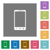 Modern mobile phone with three buttons square flat icons - Modern mobile phone with three buttons flat icons on simple color square backgrounds