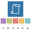 Blank paper scroll flat white icons in square backgrounds. 6 bonus icons included. - Blank paper scroll flat white icons in square backgrounds