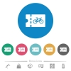Bicycle shop discount coupon flat round icons - Bicycle shop discount coupon flat white icons on round color backgrounds. 6 bonus icons included.
