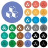 Cubes round flat multi colored icons - Cubes multi colored flat icons on round backgrounds. Included white, light and dark icon variations for hover and active status effects, and bonus shades.