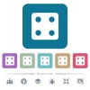 Dice four flat icons on color rounded square backgrounds - Dice four white flat icons on color rounded square backgrounds. 6 bonus icons included