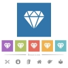 Diamond flat white icons in square backgrounds - Diamond flat white icons in square backgrounds. 6 bonus icons included.