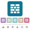 Brick wall flat icons on color rounded square backgrounds - Brick wall white flat icons on color rounded square backgrounds. 6 bonus icons included