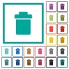 Single trash flat color icons with quadrant frames - Single trash flat color icons with quadrant frames on white background