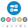 Toggle switches flat white icons on round color backgrounds. 6 bonus icons included. - Toggle switches flat round icons
