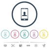 Video call flat color icons in round outlines - Video call flat color icons in round outlines. 6 bonus icons included.