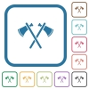 Two tomahawks simple icons - Two tomahawks simple icons in color rounded square frames on white background