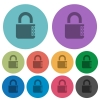Locked combination lock with side numbers color darker flat icons - Locked combination lock with side numbers darker flat icons on color round background