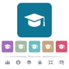 Graduation cap flat icons on color rounded square backgrounds - Graduation cap white flat icons on color rounded square backgrounds. 6 bonus icons included