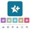 Add star flat icons on color rounded square backgrounds - Add star white flat icons on color rounded square backgrounds. 6 bonus icons included