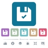 File ok flat icons on color rounded square backgrounds - File ok white flat icons on color rounded square backgrounds. 6 bonus icons included