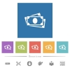 More banknotes flat white icons in square backgrounds - More banknotes flat white icons in square backgrounds. 6 bonus icons included.