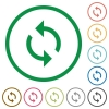 Programming loop flat icons with outlines - Programming loop flat color icons in round outlines on white background