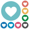 Heart card symbol flat round icons - Heart card symbol flat white icons on round color backgrounds