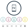 Mobile broker flat color icons in round outlines - Mobile broker flat color icons in round outlines. 6 bonus icons included.
