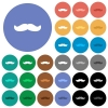 Mustache multi colored flat icons on round backgrounds. Included white, light and dark icon variations for hover and active status effects, and bonus shades. - Mustache round flat multi colored icons