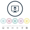 Monitor with incognito symbol flat color icons in round outlines. 6 bonus icons included. - Monitor with incognito symbol flat color icons in round outlines