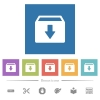 Archive flat white icons in square backgrounds - Archive flat white icons in square backgrounds. 6 bonus icons included.