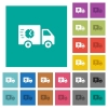 Fast delivery truck square flat multi colored icons - Fast delivery truck multi colored flat icons on plain square backgrounds. Included white and darker icon variations for hover or active effects.