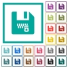 Zipped file flat color icons with quadrant frames - Zipped file flat color icons with quadrant frames on white background
