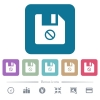 Disabled file flat icons on color rounded square backgrounds - Disabled file white flat icons on color rounded square backgrounds. 6 bonus icons included