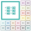 Single image selection with radio buttons flat color icons with quadrant frames - Single image selection with radio buttons flat color icons with quadrant frames on white background