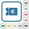 Euro discount coupon simple icons - Euro discount coupon simple icons in color rounded square frames on white background