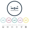 Audio balance control flat color icons in round outlines - Audio balance control flat color icons in round outlines. 6 bonus icons included.