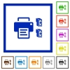 Printer and ink cartridges flat framed icons - Printer and ink cartridges flat color icons in square frames on white background