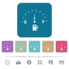 Fuel indicator white flat icons on color rounded square backgrounds. 6 bonus icons included - Fuel indicator flat icons on color rounded square backgrounds
